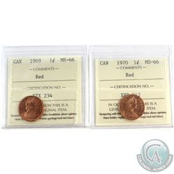 1969 & 1970 Canada 1-cent ICCS Certified MS-66 Red. 2pcs