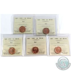1991-1999 Canada 1-cent ICCS Certified MS-66 Red - 1991, 1992, 1994, 1997 & 1999. 5pcs