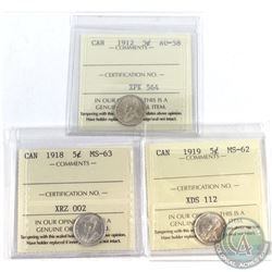 1912-1919 Canada 5-cent ICCS Certified - 1912 AU-58, 1918 MS-63 & 1919 MS-62 (1919 holder is cut on