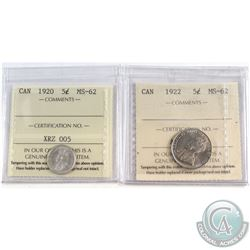 1920 & 1922 Canada 5-cent ICCS Certified MS-62. 2pcs