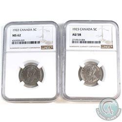 1922 Canada 5-cent NGC Certified MS-62 & 1923 5-cent NGC AU-58. 2pcs