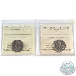 1928 & 1929 Canada 5-cent ICCS Certified MS-62. 2pcs