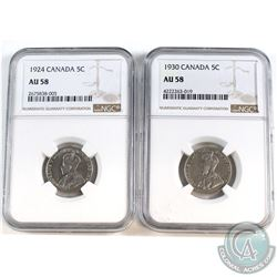 1924 & 1930 Canada 5-cent NGC Certified AU-58. 2pcs