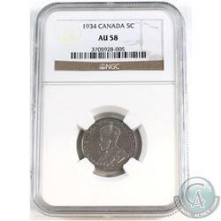 1934 Canada 5-cent NGC Certified AU-58
