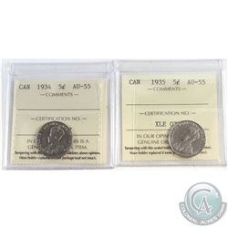 1934 & 1935 Canada 5-cent ICCS Certified AU-55. 2pcs