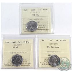 1953 NSF FL, 1953 SF NL & 1954 SF (Lacquer) ICCS Certified MS-65. 3pcs