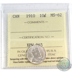 1910 Canada 10-cent ICCS Certified MS-62