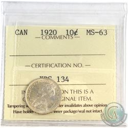1920 Canada 10-cent ICCS Certified MS-63