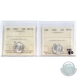 1942 & 1946 Canada 10-cent ICCS Certified MS-64. 2pcs