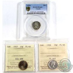 1954 Canada 10-cent PCGS Certified PL-66+, 1957 10-cent ICCS PL-66 & 1958 10-cent ICCS PL-66. 3pcs