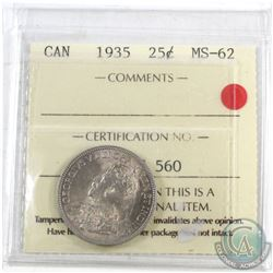 1935 Canada 25-cent ICCS Certified MS-62
