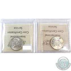 1938 & 1939 Canada 25-cent ICCS Certified MS-62. 2pcs