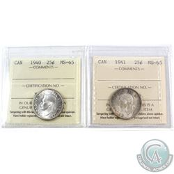 1940 & 1941 Canada 25-cent ICCS Certified MS-65. 2pcs