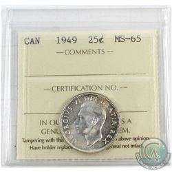 1949 Canada 25-cent ICCS Certified MS-65