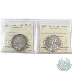 1917 & 1918 Canada 50-cent ICCS Certified VF-30. 2pcs