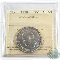 1938 Canada 50-cent ICCS Certified AU-58