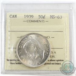 1939 Canada 50-cent ICCS Certified MS-63