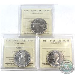 1954, 1955 Cameo & 1957 Canada 50-cent ICCS Certified PL-66. 3pcs