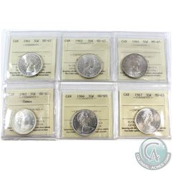 1961-1967 Canada 50-cent ICCS Certified MS-65 - 1961, 1963, 1964, 1965 Cameo, 1966 & 1967. 6pcs