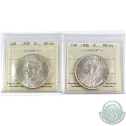 1935 & 1936 Canada Silver $1 ICCS Certified MS-64. 2pcs