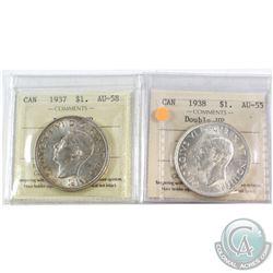 1937 Canada Silver $1 Double HP ICCS Certified AU-58 & 1938 Silver $1 Double HP AU-55. 2pcs