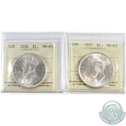 1936 & 1937 Canada Silver $1 ICCS Certified MS-63. 2pcs