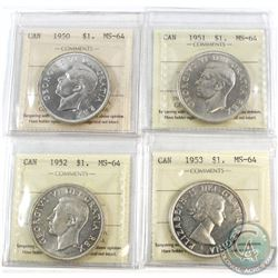 1950-1953 Canada Silver $1 ICCS Certified MS-64 - 1950, 1951, 1952 WL & 1953 NSF. 4pcs