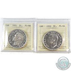 1951 SWL & 1952 NWL Canada Silver $1 ICCS Certified PL-64 . 2pcs