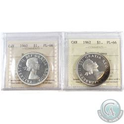 1960 & 1962 Canada Silver $1 ICCS Certified PL-66 Heavy Cameo. 2pcs