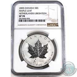 2005 Canada $5 Netherlands Liberation Tulip Privy Maple Leaf NGC Certified SP-70 (Tax Exempt)