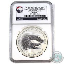 2014P Australia $1 Salt Water Crocodile 1oz Fine Silver NGC Certified MS-69 * Early Release* (Tax Ex