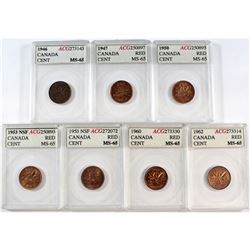 1946-1962 Canada 1-cent ACG Certified MS-65 Red (1946 is not red) - 1946, 1947, 1950, 2x 1953 NSF, 1