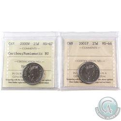 2000W Canada 25-cent ICCS Certified MS-67 NBU & & 2001P Canada 25-cent ICCS Certified MS-66.2pcs