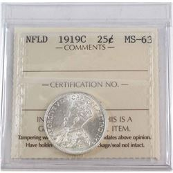 Newfoundland 25-cent 1919-C ICCS Certified MS-63 *RARE Mint state Coin*