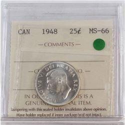 25-cent 1948 ICCS Certified MS-66 Gem Coin with Crisp strike details