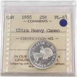 25-cent 1955 ICCS Certified PL-67 Ultra Heavy Cameo *Tied for the Highest Grade by ICCS *