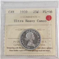 25-cent 1959 ICCS Certified PL-66 Ultra Heavy Cameo