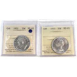 50-cent 1952 & 1955 Both ICCS Certified MS-65 2pcs.