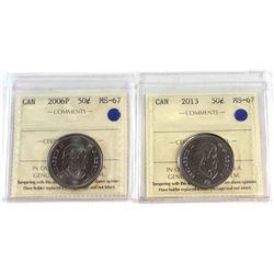 50-cent 2006P, 2013 Both ICCS Certified MS-67 2pcs.