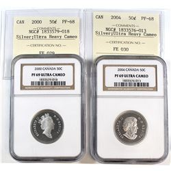 2000 & 2004 Canada 50-cent Cross Graded NGC Certified PF-69 Ultra Heavy Cameo & ICCS Certified PF-68