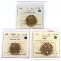 Loon $1 1992 Confederation, 1994 Remembrance, 1995 Loon All ICCS Certified MS-66 3pcs.