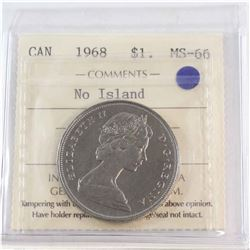Nickel $1 1968 No Island ICCS Certified MS-66 Tied for Highest Grade By ICCS