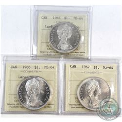 Silver $1 1965 LgeBds Blt 5, 1966 Large Beads & 1967 ICCS Certified MS-64. 3pcs