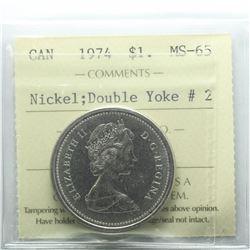 Nickel $1 1974 Double Yoke #2 ICCS Certified MS-65