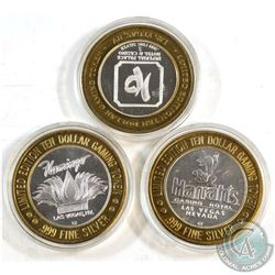 3x Las Vegas Limited Edition.999 Fine Silver $10 Casino Gaming tokens (Tax Exempt). You will receive