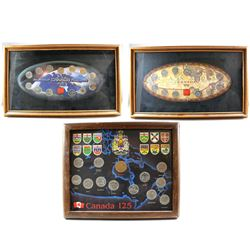 * 1992, 1999, 2000 Canada Commemorative 25-cent Sets in Official RCM Boards, Framed. 1992 Set also c