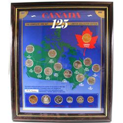 1992 Canada's 125th Collector Edition 19-coin set in Display Frame.