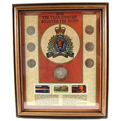1973 Canada RCMP Collector Coin & Stamp set in Frame.