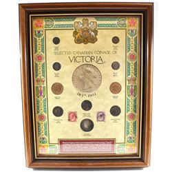 Canadian Coinage of Victoria Coin & Stamp Set in Collection Frame. Set contains 10 coins, and 2 Stam