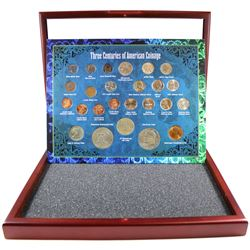 Three Centuries of American Coinage in Deluxe Presentation Case. This set contains 25 coins represen
